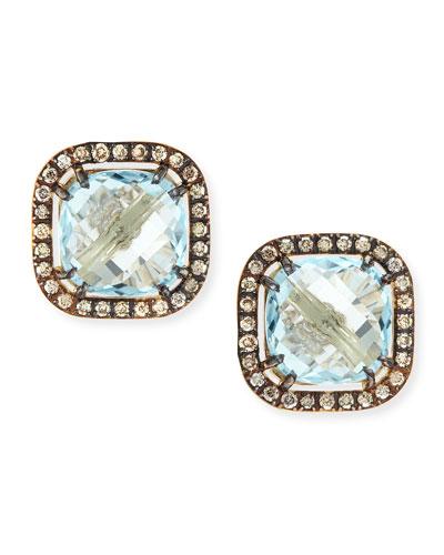 Suzanne Kalan 14k Yellow Gold Blue Topaz Cushion & Champagne Diamond Stud Earrings