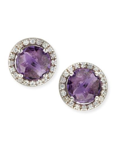 Suzanne Kalan 14k White Gold Amethyst & Sapphire Stud Earrings