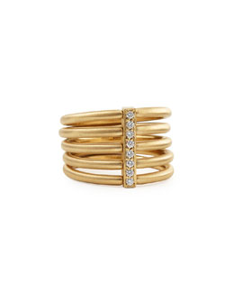 Carelle 18k Moderne 5-Stack Ring with Pave Diamonds