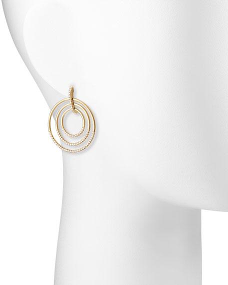 """18k Moderne 3-Ring Pave Diamond Earrings, 1 1/2"""""""