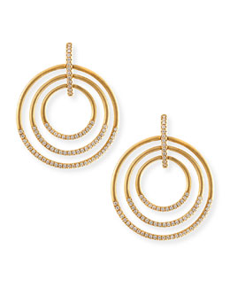 Carelle 18k Moderne 3-Ring Pave Diamond Earrings, 1 1/2""