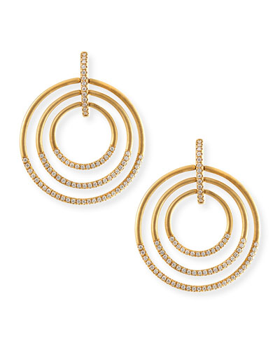 18k Moderne 3-Ring Pave Diamond Earrings, 1 1/2""