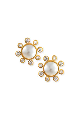 Elizabeth Locke Akoya Pearl & Diamond Stud Earrings