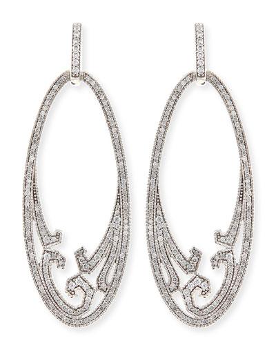 Ivanka Trump Athenee 18k White Gold & Diamond Oval Scroll Earrings