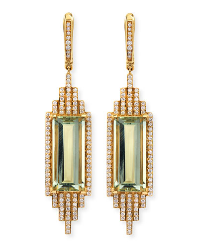 Ivanka Trump Empire Elongated Prasiolite & Diamond Earrings