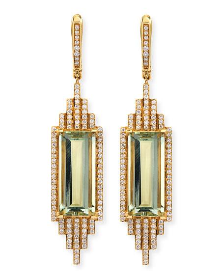 Ivanka Trump Empire Elongated Prasiolite & Diamond Earrings