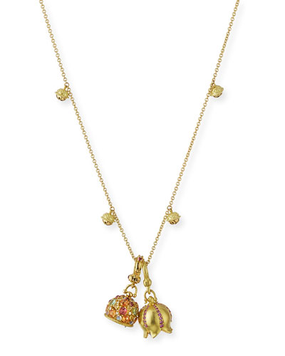 18k Gold Mini Jingle Bell Necklace, 28