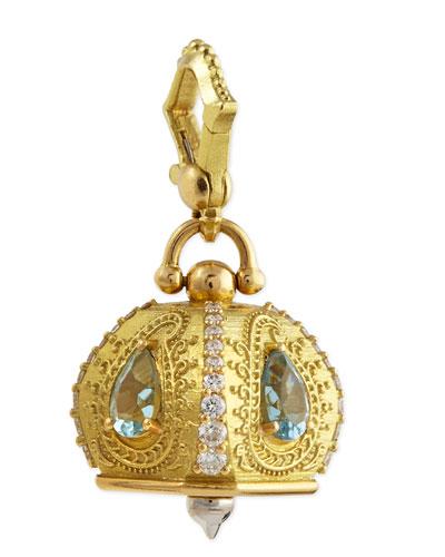 18k #5 Raja Aquamarine & Diamond Meditation Bell Pendant