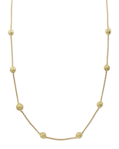 "Paul Morelli 18k Gold Small Inline Bell Necklace, 28""L"
