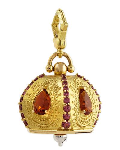 Paul Morelli 18k #5 Raja Citrine & Rhodolite Meditation Bell Pendant