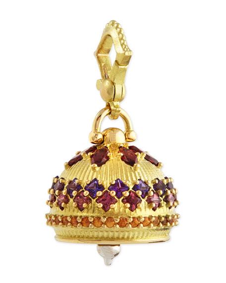 18k #4 Rhodolite, Amethyst, Spessartite Meditation Bell Pendant