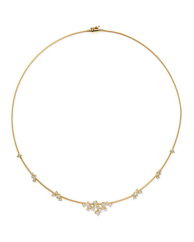 18k Yellow Gold Diamond Confetti Single Wire Necklace