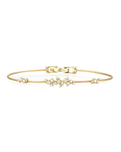 18k Yellow Gold Diamond Confetti Single Wire Bracelet