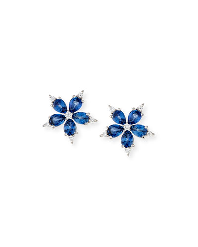Paul Morelli Small Stellanise Blue Sapphire & Diamond Stud Earrings