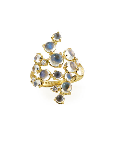 Moonstone & White Diamond Bubble Cluster Ring