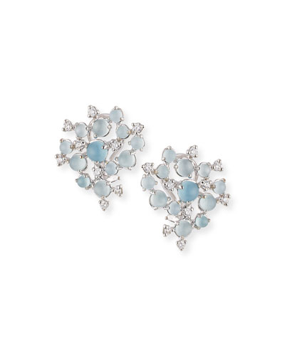 Aquamarine & White Diamond Bubble Cluster Earrings