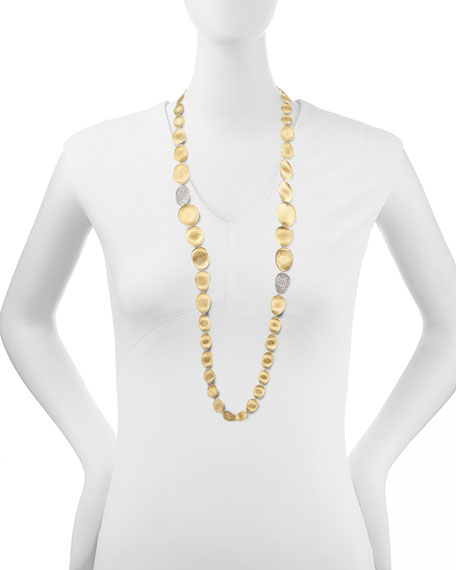 "Diamond Lunaria 18k Gold Necklace, 36""L"