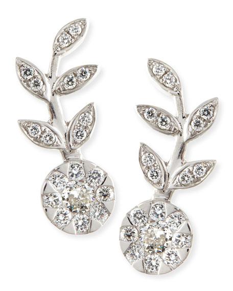 Rina Limor 18k White Gold & Diamond Floral Climber Earrings