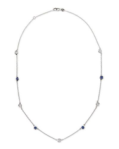 Rina Limor 18k White Gold Sapphire & Diamond Necklace