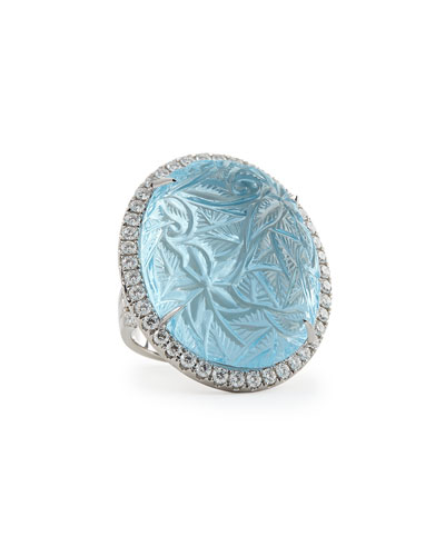 Large Oval Bouquet Carved Blue Topaz & Diamond Ring