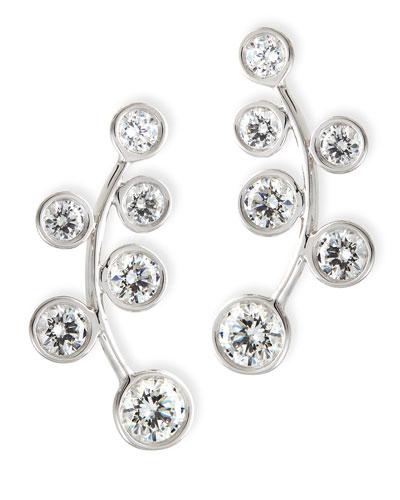 Rina Limor 18k White Gold & Diamond Climber Earrings