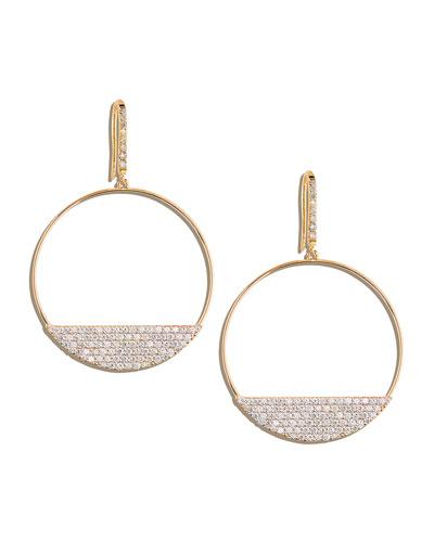 LANA Fatale 14k Gold Diamond Eclipse Hoop Earrings