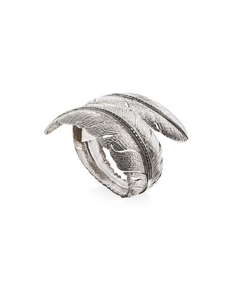 Feather Bypass Hinged Bangle with Diamonds