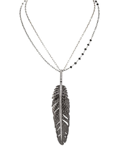 Michael Aram Rhodium-Plated Silver Feather Pendant Necklace with Diamonds