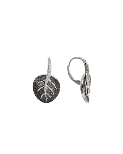 Michael Aram Botanical Leaf Earrings in Silver with Diamonds