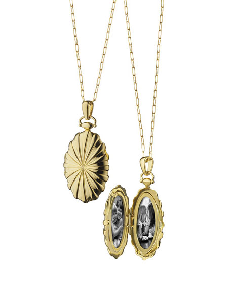 18k Gold Sunburst Oval Locket Necklace