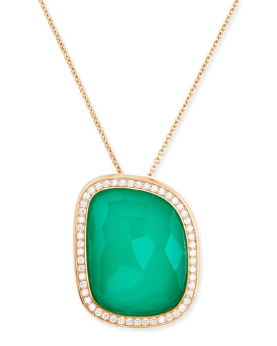 Robert Coin 18k Rose Gold African Jade Collection Necklace with Green Agate Pendant
