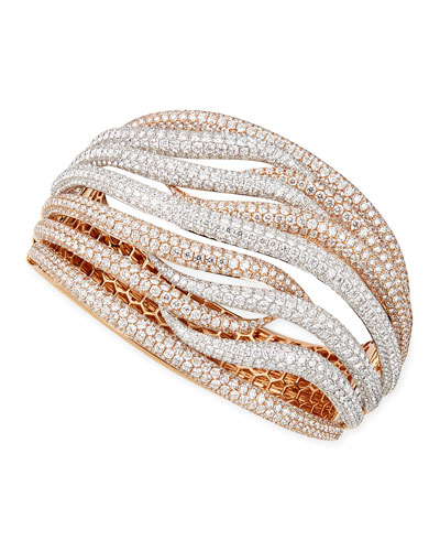 Robert Coin 18k White & Rose Gold Fantasia Pave Diamonds Crossover Bangle, 27.47 TCW