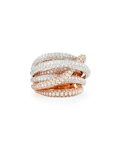 Roberto Coin 18k White & Rose Gold Fantasia Pave Diamonds Crossover Ring