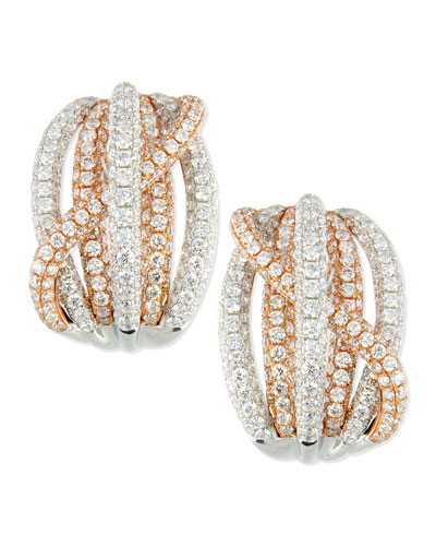 Roberto Coin 18k Rose & White Gold Pave Diamond Crossover Earrings