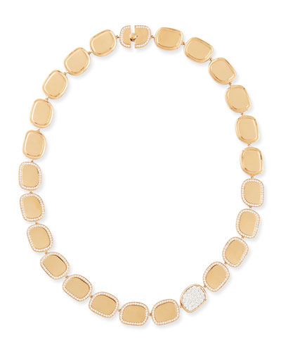 Robert Coin 18k Rose Gold Diamond African Jade Collection Necklace