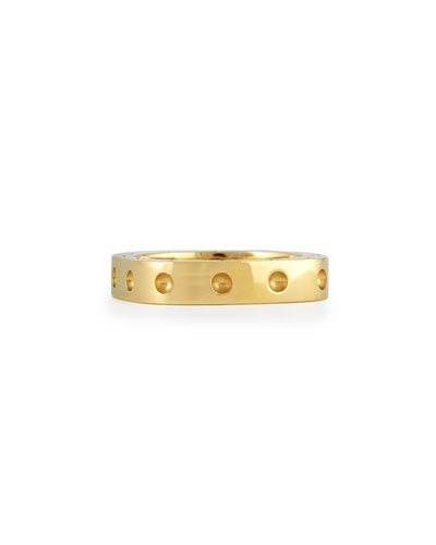 Men's 18k Yellow Gold Pois Moi Single Row Square Band Ring, Size 11