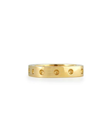 Men's 18k Yellow Gold Pois Moi Single Row Square Band Ring, Size 11