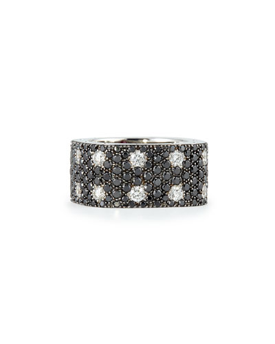 Pois Moi 18k White Gold & Black/White Diamond 2-Row Ring