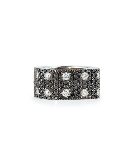 Pois Moi 18k White Gold & Black/White Diamond 2-Row Ring, Size 6.5