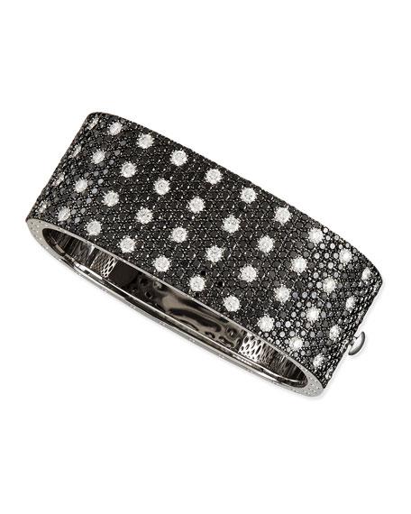 Pois Moi 18k White Gold & Black/White Diamond 4-Row Bangle