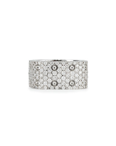 Robert Coin Pois Moi 18k White Gold & White Diamond 2-Row Ring