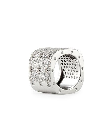Pois Moi 18k White Gold & White Diamond 3-Row Ring, Size 6.5