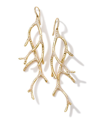 Ippolita 18k Gold Stardust Multi-Branch Earrings with Diamonds