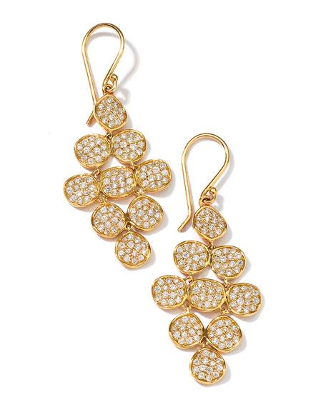 18K Gold Stardust Flower Cascade Earrings with Diamonds