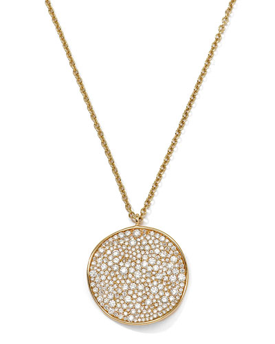 Ippolita 18K Gold Stardust Wavy Disc Pendant Necklace with Diamonds, 16-18""