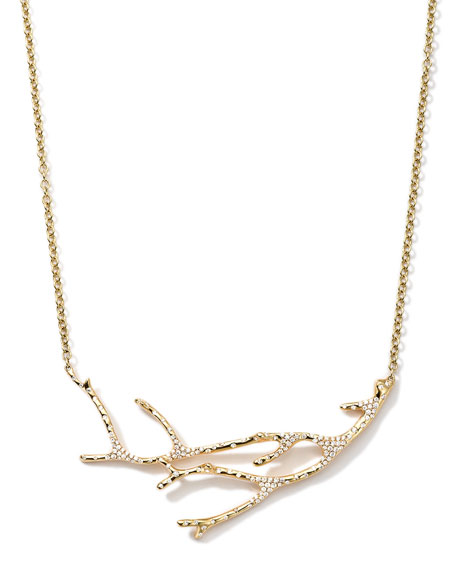 18K Gold Stardust Branch Necklace with Diamonds, 19""