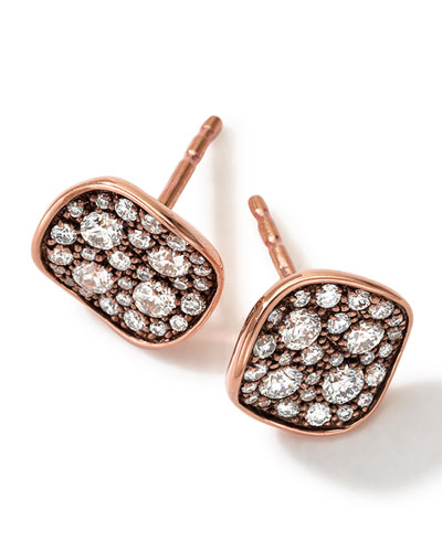 18k Rose Gold Pave 2-Disc Earrings with Diamonds