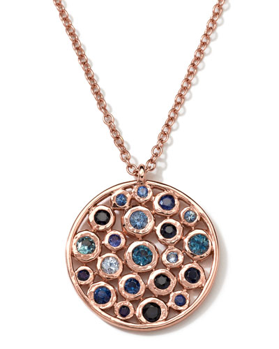 Ippolita 18k Rose Gold Multi Blue Sapphire Disc Necklace