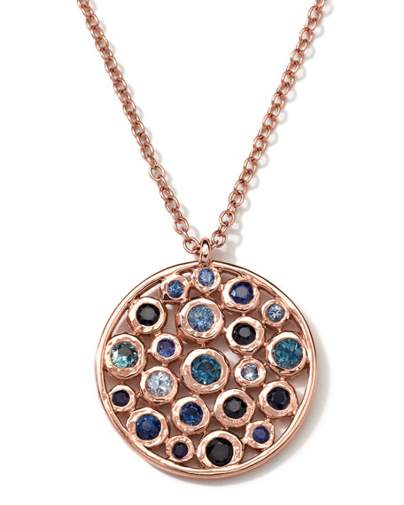18k Rose Gold Multi Blue Sapphire Disc Necklace