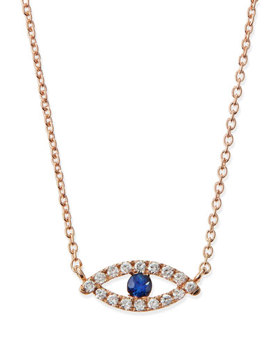 Diane Kordas Rose Gold Evil Eye Necklace with Diamonds and Sapphire